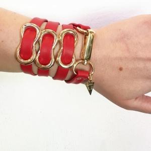 צמיד שמיניות אדום זהב