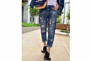 ג'ינס פיינט הדפס כחול