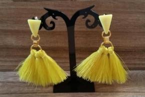 עגילי מניפה בוהו שיק צהוב