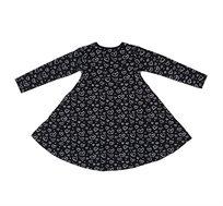 שמלת ג'רזי מסתובבת קלאסית - שחור עם לבבות