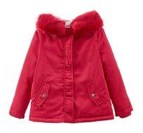 מעיל עם כובע דמוי פרווה לילדות בצבע אדום