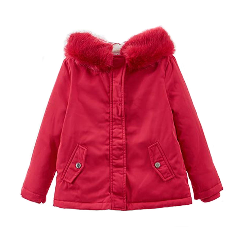 מעיל OVS עם כובע דמוי פרווה לילדות - אדום
