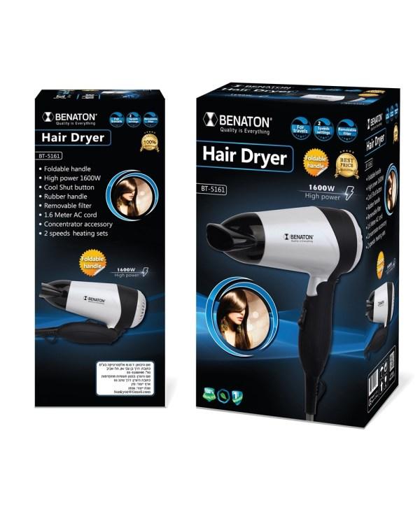 מייבש שיער קומפקטי רב תכליתי לשימוש ביתי ולטיולים BENATON BT-5161 - תמונה 2