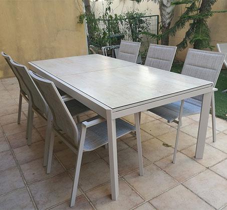 שולחן נפתח מאלומיניום עם 6 כסאות לגינה דגם LAND