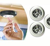 3 יחידות של מנורת LED A3 הנדבקת בקלות בכל מקום שאין בו אור