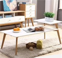 שולחן קפה מעוצב מלבני כולל מדף עליון בצבע לבן עשוי עץ חזק ואיכותי