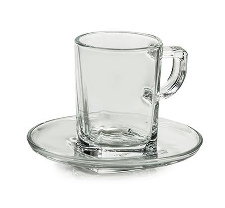 6 ספלים לאספרסו כולל תחתית מזכוכית