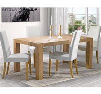 פינת אוכל כפרית + 6 כסאות דמוי עור ביתילי מעץ בוק דגם בונטון