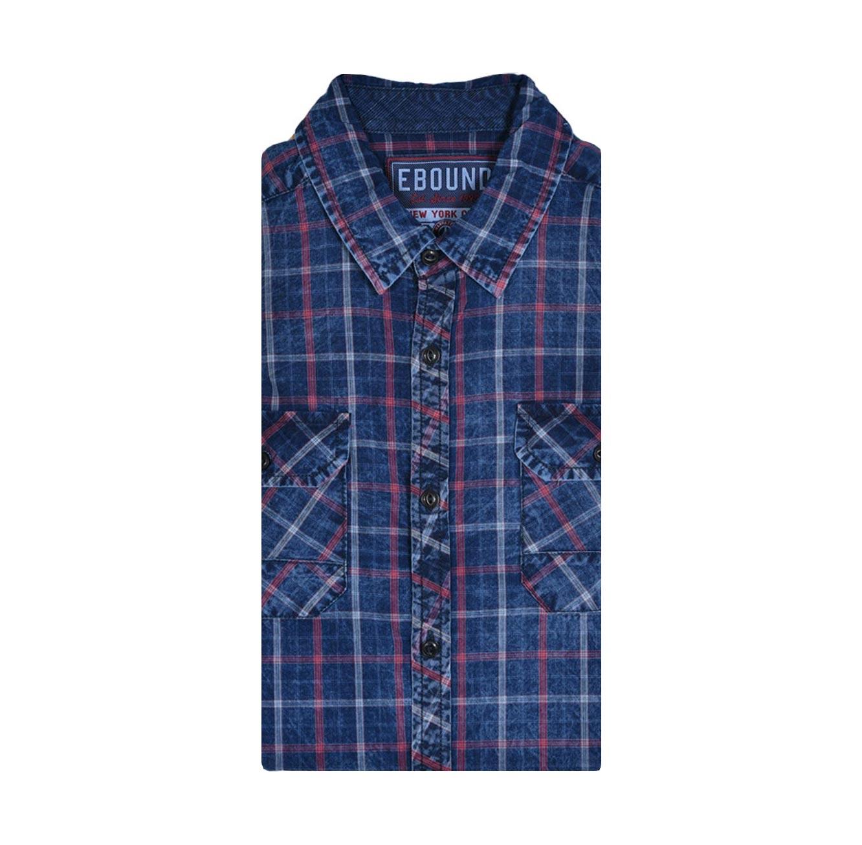 חולצת אריג לגבר שרוול ארוך E-BOUND - כחול/אדום