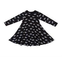 שמלת ג'רזי מודפסת עשירה בבד ומסתובבת - שחור עם קסטות