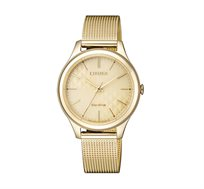 שעון יד סולארי לאישה Citizen עשוי פלדת אל חלד מוזהבת ועמיד במים עד 50M