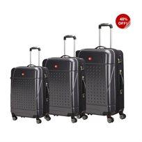 swiss travel סט 3 מזוודות קשיחות שחור!