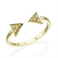 """טבעת יהלומים """"חיצים"""" זהב צהוב 0.10 קראט"""
