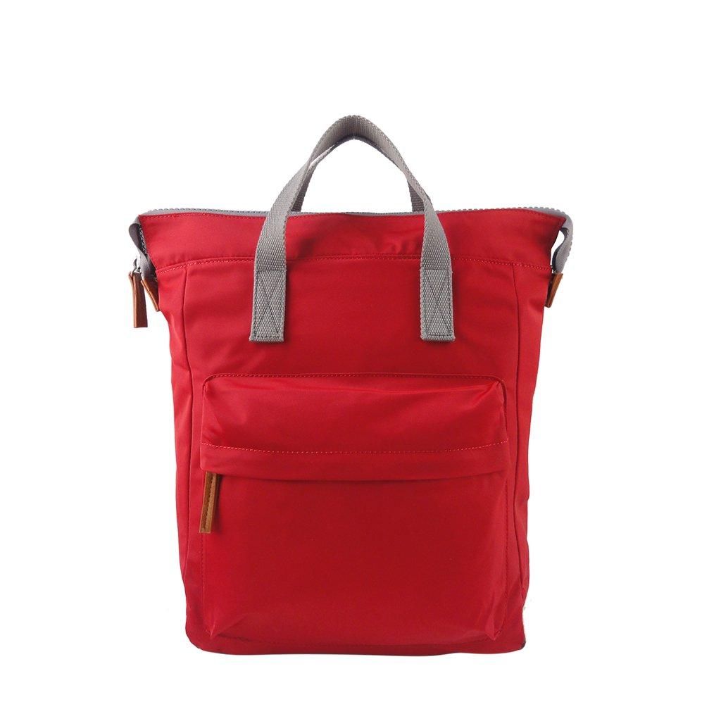 Roka - תיק גב מרופד ומרווח בצבע אדום עם כיס חיצוני מרובע