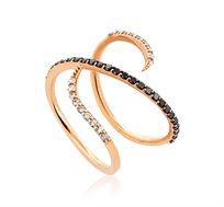 טבעת מקולקציית טבעות האופנה משובצת יהלומים במשקל כולל של 0.44 נקודות