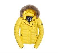 מעיל SUPERDRY FUJI SLIM לנשים עם כובע קפוצ'ון בצבע צהוב