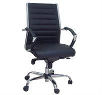 כיסא משרדי לשימוש במשרד מרופד דמוי עור דגם שי גב בינוני