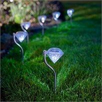 רביעיית דוקרני תאורת גן סולארית צבעונית בעיצוב דוקרן יהלום