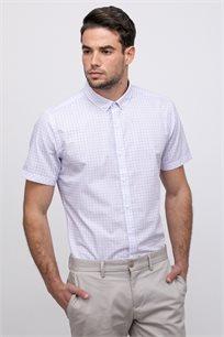 חולצה מכופתרת טקסטורת פסי משבצות