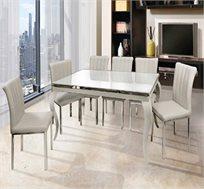 פינת אוכל ענקית בעיצוב מודרני עם זכוכית מחוסמת בצבע קרם + 6 כסאות מעוצבים של SIRS