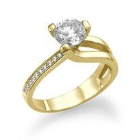 טבעת אירוסין זהב צהוב איב 1.04 קראט בשיבוץ יהלום יוקרתי