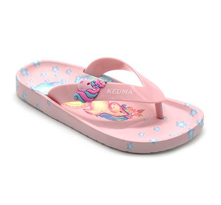 נעלי אצבע בהדפס חד קרן לילדות - ורוד