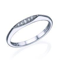טבעת שורת יהלומים 0.10 קראט זהב לבן