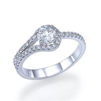 """טבעת אירוסין זהב לבן """"אנה"""" 0.76 קראט בעיצוב ייחודי ואופנתי."""