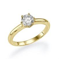 """טבעת אירוסין """"נאדין"""" 0.41 בשיניים מעוצבת האוחזות ביהלום"""