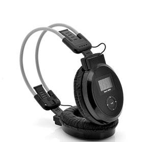 אוזניות סטריאו משולבות נגן MP3 רדיו FM וצג LCD
