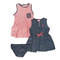 US POLO יו אס פולו (24-3 חודשים) זוג שמלות סרפן - ג'ינס ומפוספס אפרסק