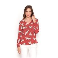 חולצת ציפורים אדומה פתח V