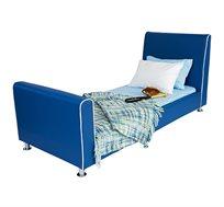 מיטת יחיד לילדים דגם נסיך בצבע כחול רויאל בשילוב כפתורי דמוי קריסטל קוקולה