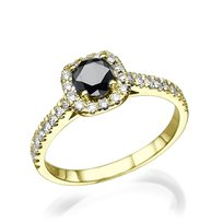 טבעת זהב צהוב המשובצת יהלומים שחורים ולבנים במשקל 0.75 קראט