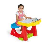 שולחן כתיבה ויצירה עם תא אחסון וספסל מובנה