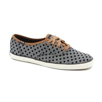 Keds - נעלי סניקרס צימפיון בצבע שחור בעיטור פסים ונקודות שחורות
