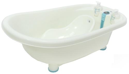 אמבטיה לתינוק עם מד טמפרטורה, מושב פנימי וכלים לסבון דגם ירדן - כחול