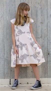 MAYAYA שמלת מתן נמוכה (2-14 שנים) ניוד הדפס מפה