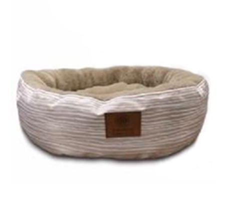 מיטת פסים עגולה לכלב ולחתול AKC מידה S + מתנה לבחירה - תמונה 2