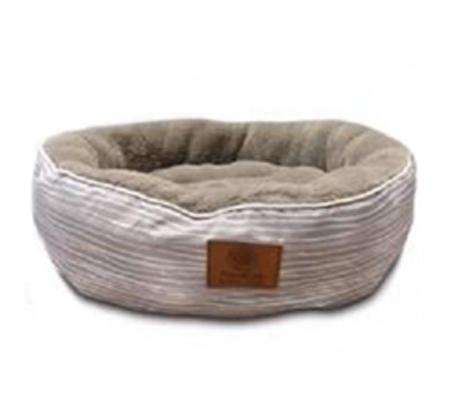 מיטת פסים עגולה לכלב ולחתול AKC מידה S + מתנה לבחירה - תמונה 3