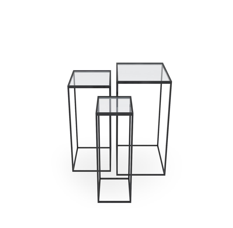 סט שלישיית שולחנות מתכת וזכוכית דגם מילאנו
