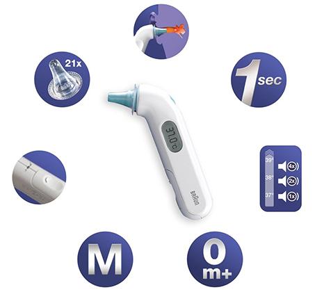 מד חום דיגיטלי לאוזן BRAUN דגם 3030IRT עם 21 כיסויים חד פעמיים בעל מערכת Thermoscan פשוט ונוח לשימוש - תמונה 2