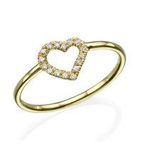 """טבעת יהלומים """"לב"""" 0.15 קראט זהב צהוב"""