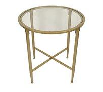 שולחן סלוני עגול בצבע זהב עם משטח זכוכית