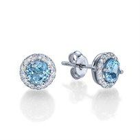 עגילי יהלומים בשיבוץ יהלומים ובלו טופז במשקל 1.50 קראט
