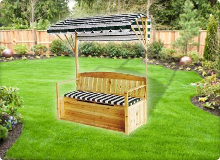 מקורי ספסל מעץ מלא איכותי עם ארגז אחסון וגגון, רק ב-₪490! WP-04