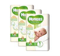 שלישיית חבילות חיתולים Huggies Little Babies להגנה על עור התינוק