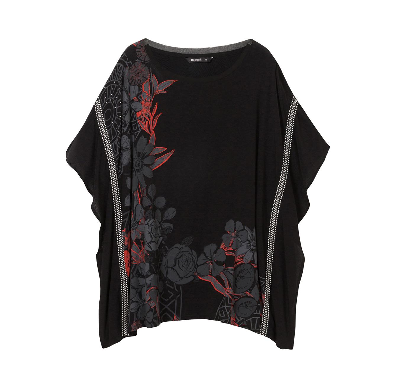 חולצת אוברסייז בהדפס פרחוני Donna לנשים - שחור