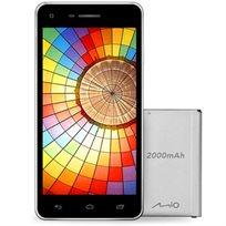 """סמארטפון מבית MIO דגם +M5 מעבד 4 ליבות 1.3GHZ מסך 5"""" נפח אחסון 16GB סוללה נוספת נרתיק ומגן מסך מתנה!"""
