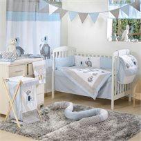 סט מצעים 3 חלקים למיטת תינוק 100% כותנה - פיל אפור